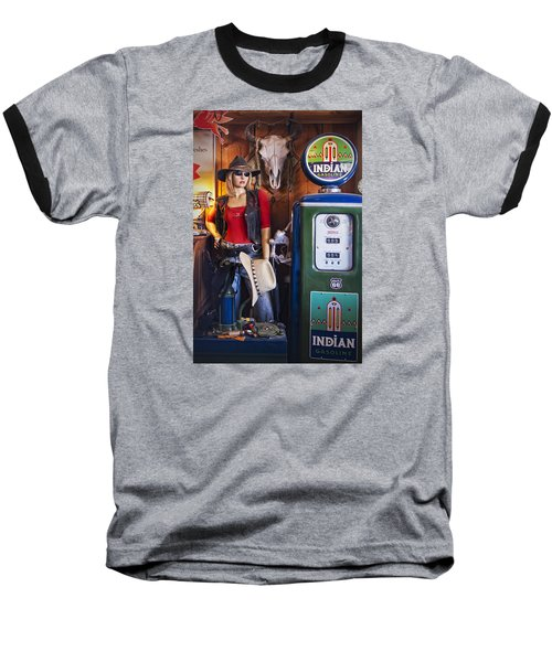 Full Service Route 66 Gas Station Baseball T-Shirt by Priscilla Burgers