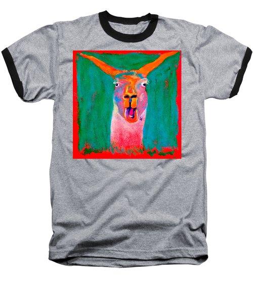 Funky Llama Art Print Baseball T-Shirt