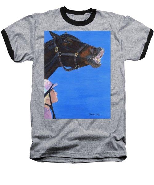 Funny Face - Horse And Child Baseball T-Shirt by Patricia Barmatz