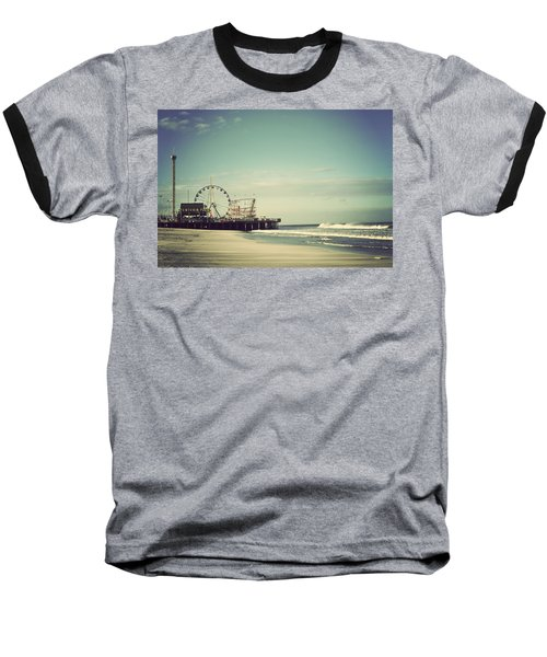 Funtown Pier Seaside Heights New Jersey Vintage Baseball T-Shirt by Terry DeLuco