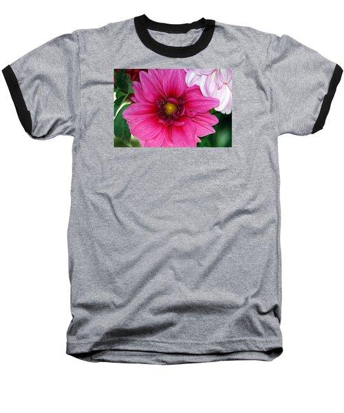 Fushia Pink Dahlia Baseball T-Shirt