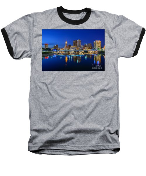 Fx2l530 Columbus Ohio Night Skyline Photo Baseball T-Shirt