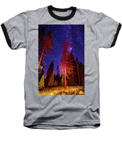 Baseball T-Shirt featuring the photograph Galaxy Stars By The Campfire by Jerry Cowart