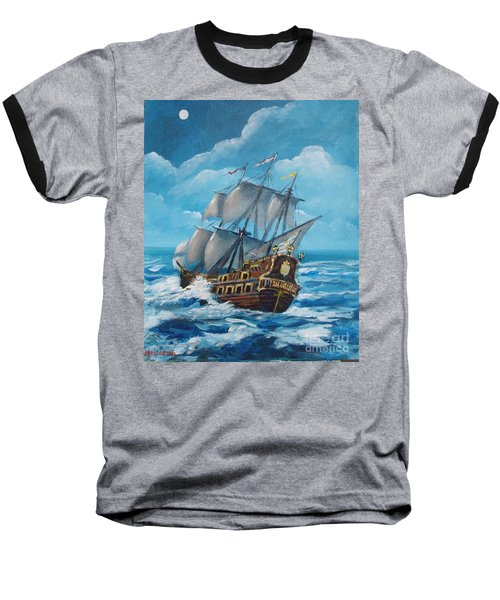 Galleon At Night Baseball T-Shirt