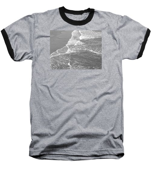 Galveston Tide In Grayscale Baseball T-Shirt by Connie Fox