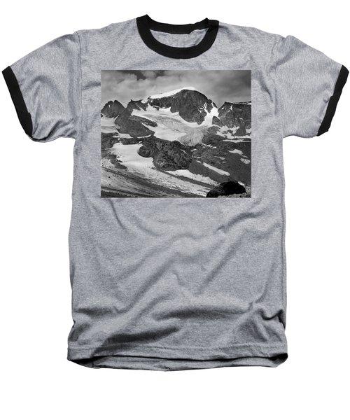 509427-bw-gannett Peak And Gooseneck Glacier, Wind Rivers Baseball T-Shirt