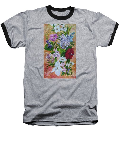 Baseball T-Shirt featuring the painting Garden Delight by Eloise Schneider