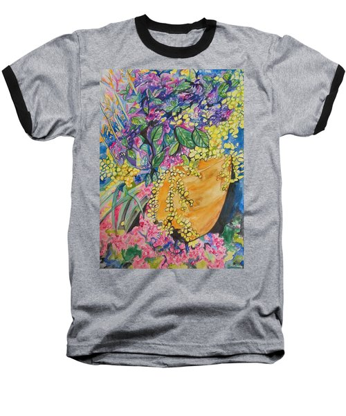 Garden Flowers In A Pot Baseball T-Shirt by Esther Newman-Cohen