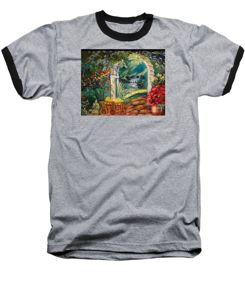 Baseball T-Shirt featuring the painting Garden Of Serenity Beyond by Jenny Lee