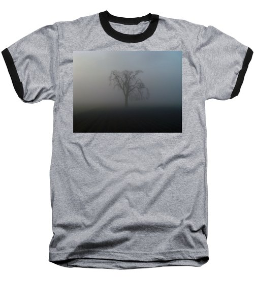 Garry Oak In Fog Baseball T-Shirt