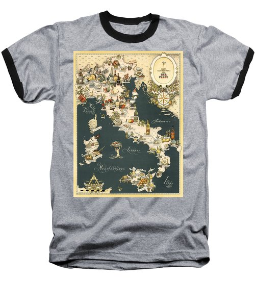Gastronomic Map Of Italy 1949 Baseball T-Shirt