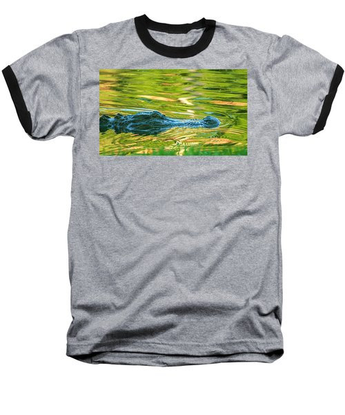 Gator In Pond Baseball T-Shirt
