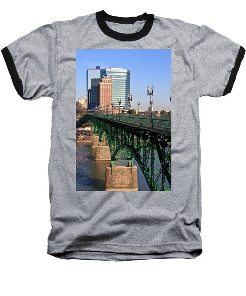 Gay Street Bridge Knoxville Baseball T-Shirt by Melinda Fawver