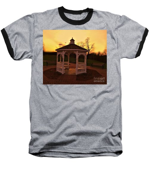 Baseball T-Shirt featuring the photograph Gazebo In Sunset by Becky Lupe