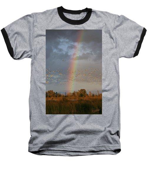 Geese And Rainbow Baseball T-Shirt