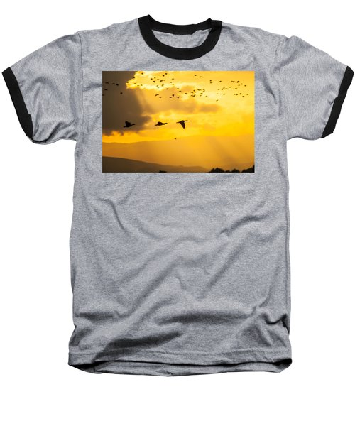 Geese At Sunset-2 Baseball T-Shirt by Brian Williamson