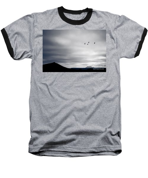 Baseball T-Shirt featuring the photograph Geese Flying South For Winter by Peta Thames