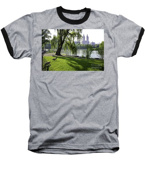Geese In Central Park Nyc Baseball T-Shirt