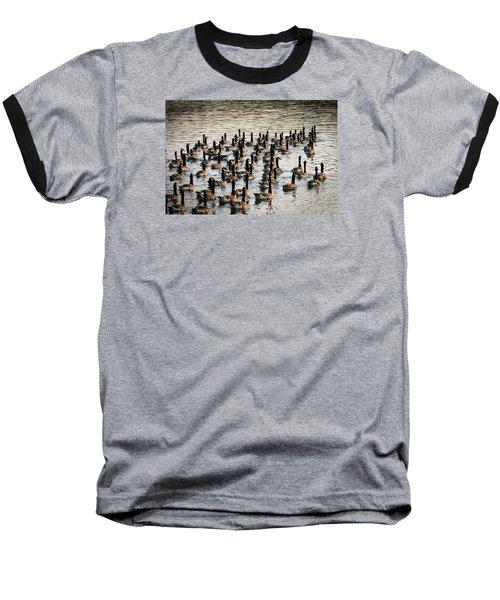 Geese In Sunset Light Baseball T-Shirt by Menachem Ganon