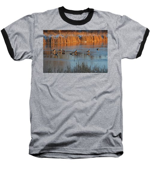 Geese In Wetlands Baseball T-Shirt