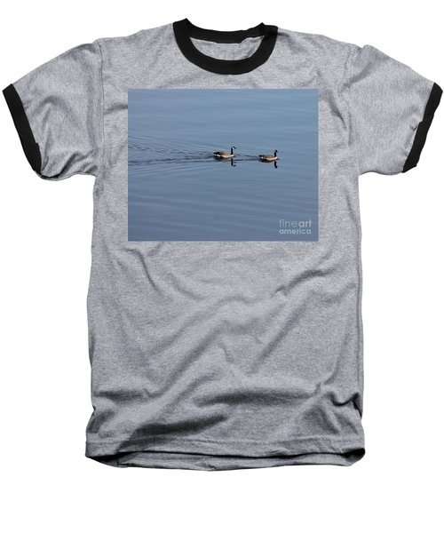 Geese Reflected Baseball T-Shirt by Leone Lund
