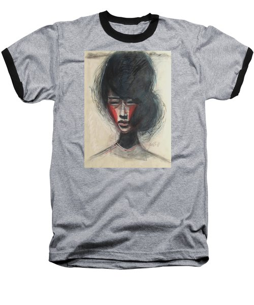 Baseball T-Shirt featuring the painting Geisha Make Up by Jarmo Korhonen aka Jarko