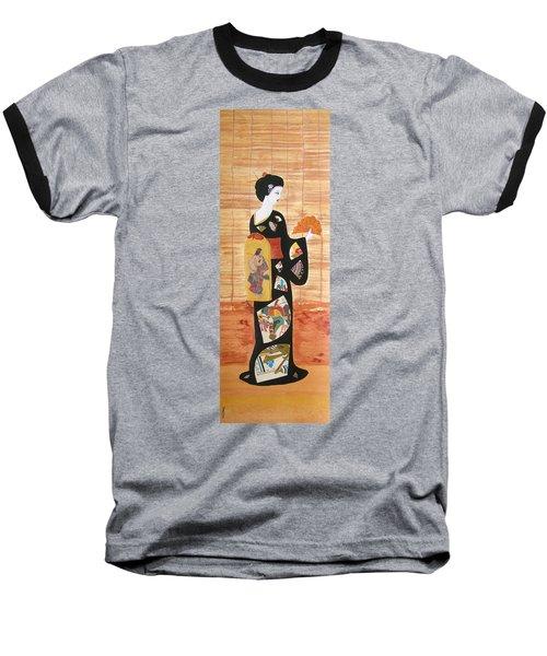 Baseball T-Shirt featuring the painting Geisha by Mini Arora