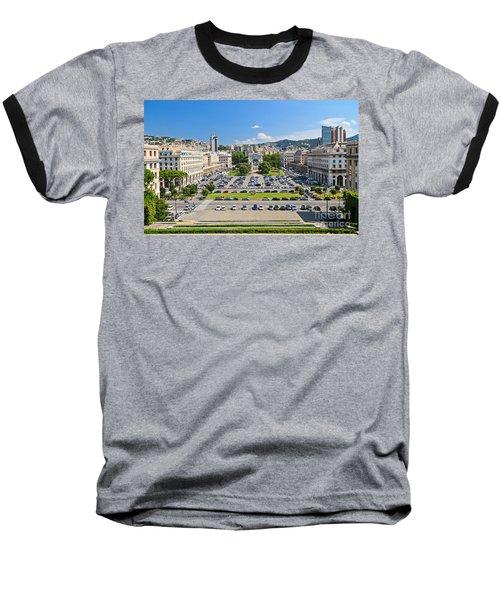 Genova - Piazza Della Vittoria Overview Baseball T-Shirt by Antonio Scarpi