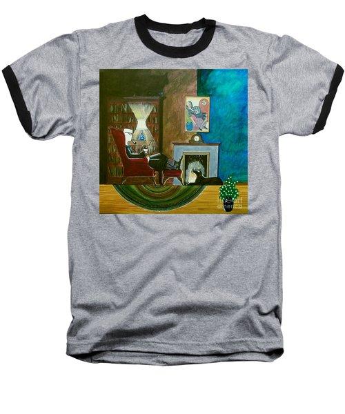 Gentleman Sitting In Wingback Chair Enjoying A Brandy Baseball T-Shirt