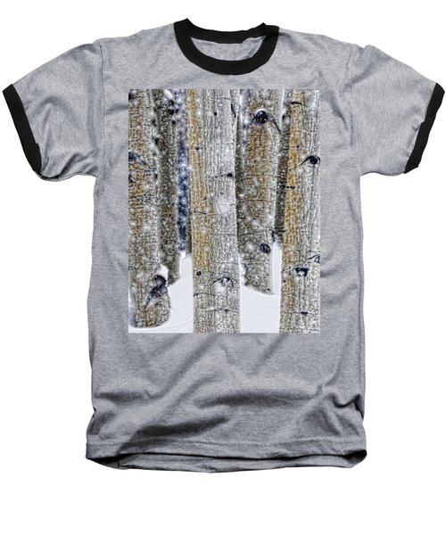 Gently Falling Forest Snow Baseball T-Shirt by Don Schwartz