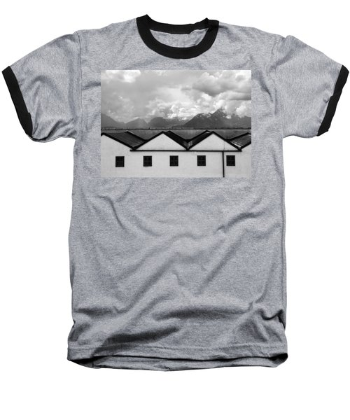 Geometric Architecture In Black And White Baseball T-Shirt by Brooke T Ryan
