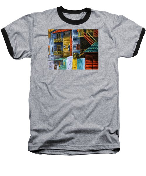 Baseball T-Shirt featuring the painting Geometric Colours I by Xueling Zou