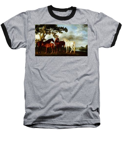 Horses Baseball T-Shirt by George Stubbs