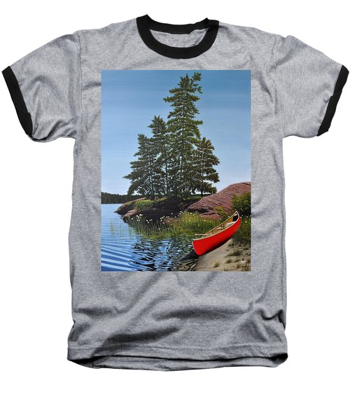 Georgian Bay Beached Canoe Baseball T-Shirt