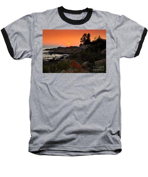Georgian Bay Sunset Baseball T-Shirt by Les Palenik