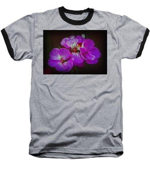 Geranium Blossom Baseball T-Shirt by Hanny Heim