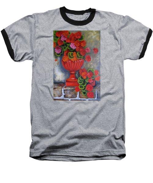 Geranium Baseball T-Shirt by Katia Aho