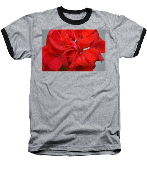 Geranium Red Baseball T-Shirt by Maria Urso