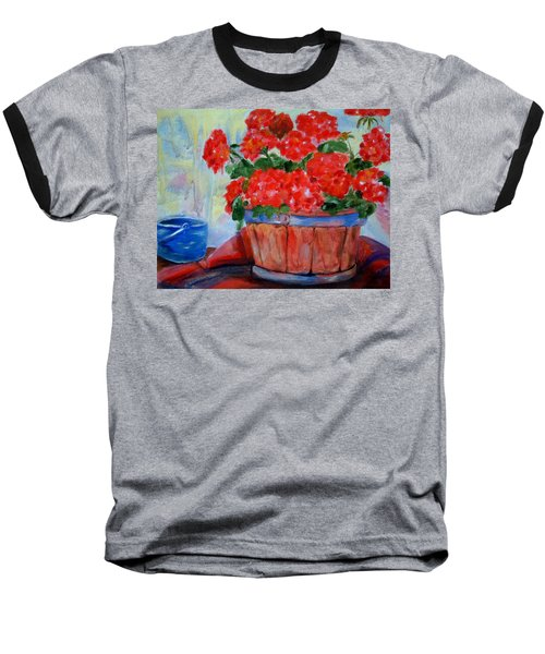 Geraniums Baseball T-Shirt by Enzie Shahmiri