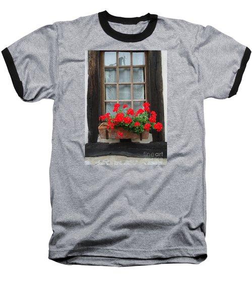 Geraniums In Timber Window Baseball T-Shirt by Barbie Corbett-Newmin
