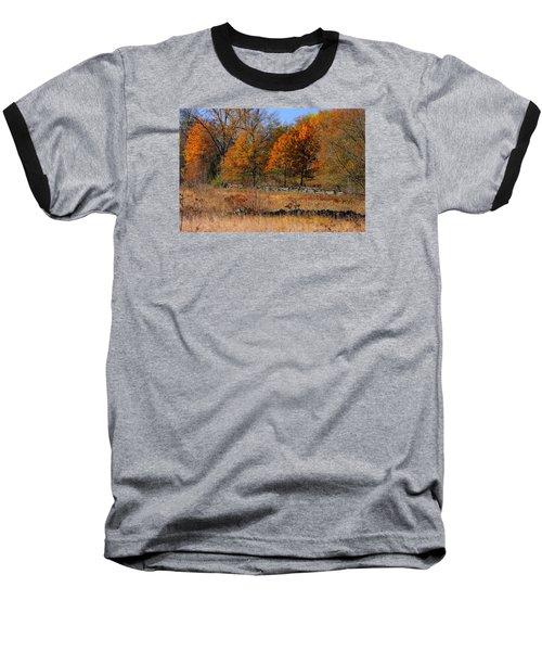 Baseball T-Shirt featuring the photograph Gettysburg At Rest - Autumn Looking Towards The J. Weikert Farm by Michael Mazaika