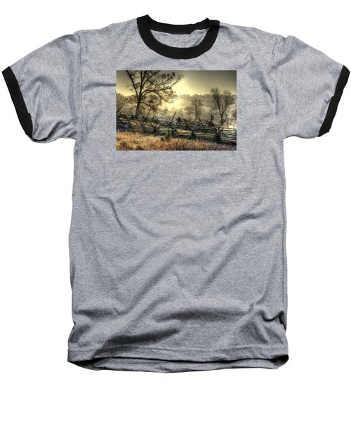 Baseball T-Shirt featuring the photograph Gettysburg At Rest - Sunrise Over Northern Portion Of Little Round Top by Michael Mazaika