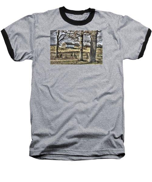 Baseball T-Shirt featuring the photograph Gettysburg At Rest - Winter Muted Edward Mc Pherson Farm by Michael Mazaika