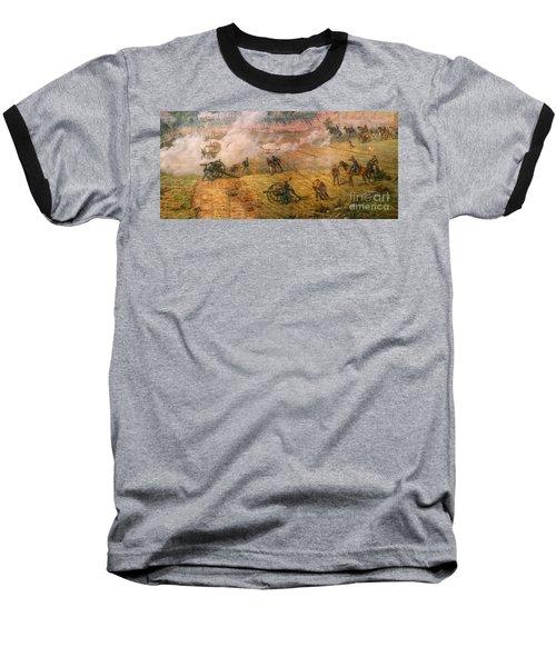 Gettysburg Cyclorama Detail One Baseball T-Shirt by Randy Steele