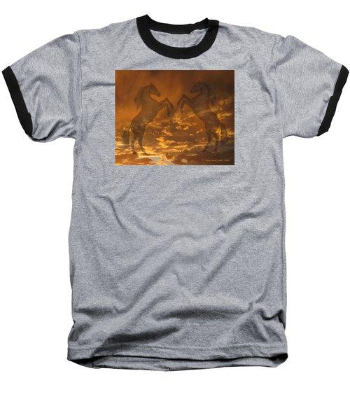 Ghost Horses At Sunset Baseball T-Shirt