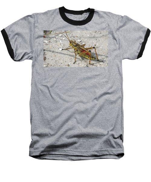 Baseball T-Shirt featuring the photograph Giant Orange Grasshopper by Ron Davidson