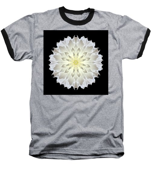 Giant White Dahlia Flower Mandala Baseball T-Shirt by David J Bookbinder