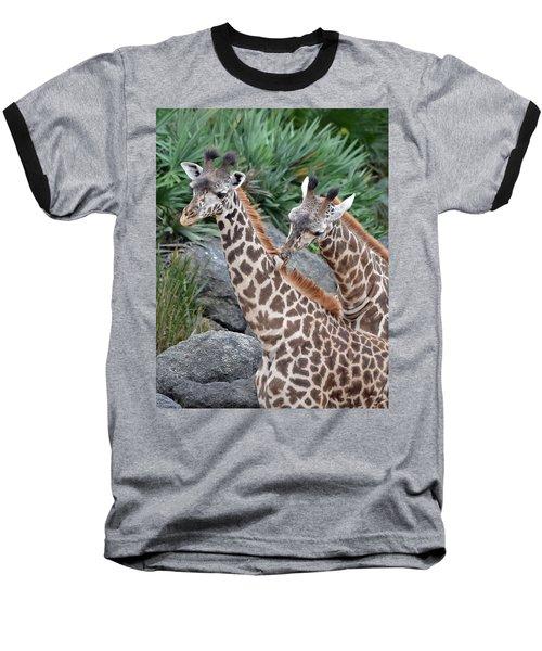 Giraffe Massage Baseball T-Shirt by Richard Bryce and Family