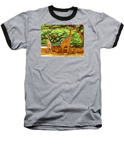 Giraffes Baseball T-Shirt by Oleg Zavarzin