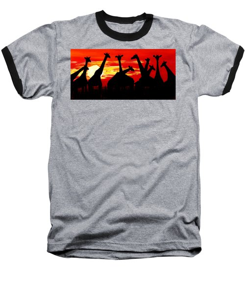 Giraffes Sunset Africa Serengeti Baseball T-Shirt